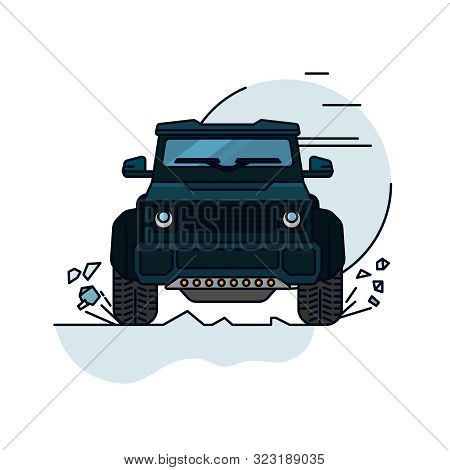 Off Road Car. Driving In Cross-country. 4x4 Car. Editable Vector Illustration In Blue Colors. Explor