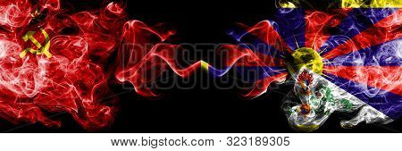 Communist Vs Tibet, Tibetan Abstract Smoky Mystic Flags Placed Side By Side. Thick Colored Silky Smo