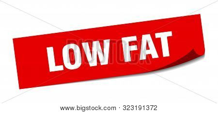 Low Fat Sticker. Low Fat Square Isolated Sign. Low Fat