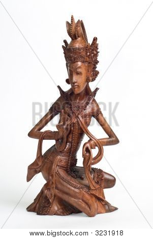 Wood Carved Statue. Bali.  Indonesia