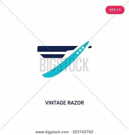 Vintage Razor Icon In Two Color Design Style. Vintage Razor Vector Icon Modern And Trendy Flat Symbo