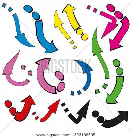 Icon With Colored Arrows On White Background. Vector Arrow Icon. Collection With Colored Arrows On L