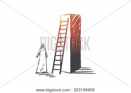 Business Aspiration, Opportunity Concept Sketch. Business Ambition, Goal Achievement Metaphor, Arab