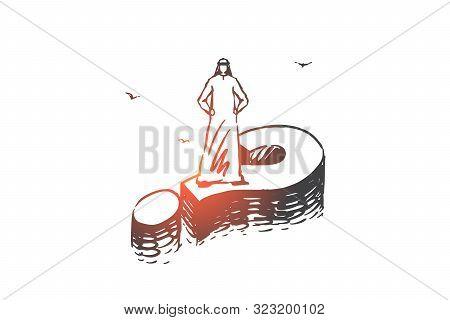 Solution, Problem Decision Concept Sketch. Muslim Businessmen Brainstorming, Arab Standing On Questi