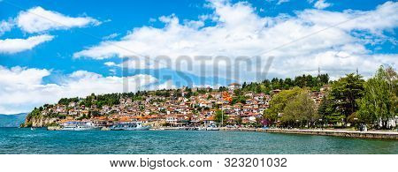 Panorama of Ohrid Town and Ohrid Lake. UNESCO world heritage in North Macedonia poster