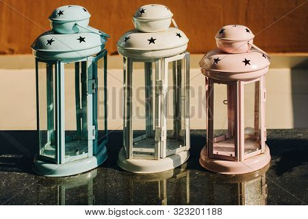 Old Retro  Style Lantern Made Of Metal In Hand