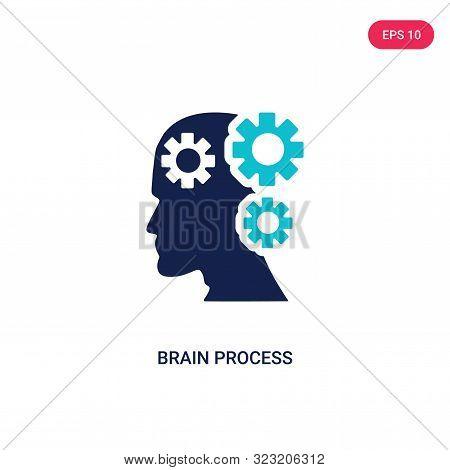 brain process icon in two color design style.
