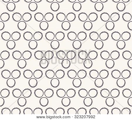 Seamless Pattern. Hand Drawn 3 Polka Dot Background. Monochrome Dotty Black And White Triple Circle.