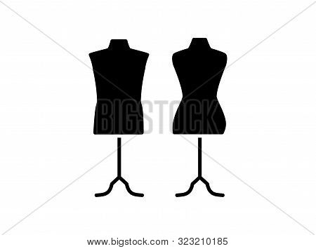 Male & Female Dressmaking Mannequin With Base Stand. Sign Of Tailor Dummy. Display Model, Body. Prof