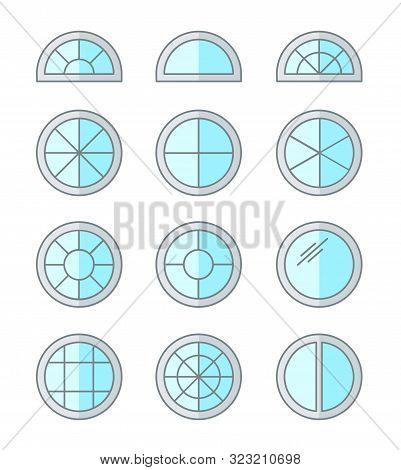 Round & Circle Window. Casement & Awning Window Frames. Flat Line Icon Set. Vector Illustration. Iso