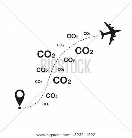Plane Destination Co2 Air Pollution Vector Illustration Eps10