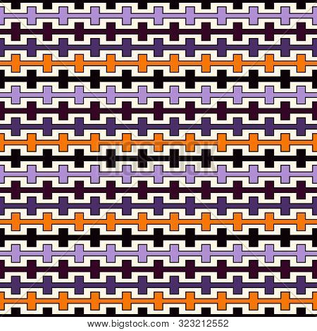 Halloween Traditional Colors Seamless Pattern With Battlement Curved Lines. Repeated Geometric Figur