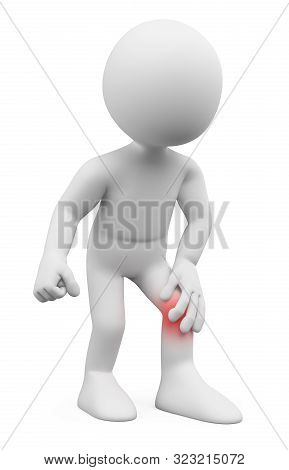 3d White People Illustration. Man With Knee Pain. Isolated White Background.