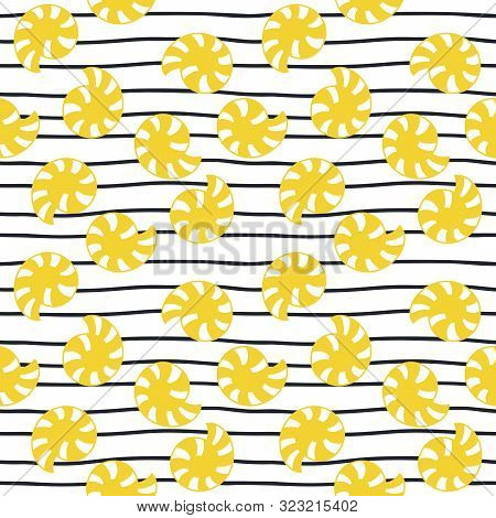 Yellow Shells And Waves On White Background. Hand Drawn Seamless Pattern