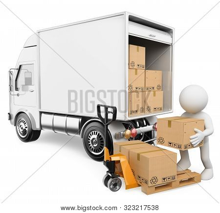 3d White People Illustration. Worker Unloading Boxes From A Truck. Isolated White Background.