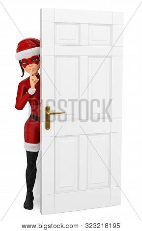 3d Christmas People Illustration. Woman Masked Superhero Hidden Behind A Door Shutting. Isolated Whi