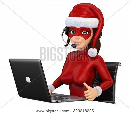 3d Business People Illustration. Woman Christmas Superhero With Headphones And Laptop. Isolated Whit