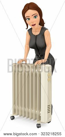 3d Business People Illustration. Businesswoman Warming Herself With An Portable Radiator. Isolated W