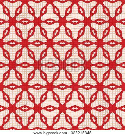 Hand Drawn Abstract Winter Snowflakes Pattern. Stylish Crystal Stars Grid Red Background. Elegant Si