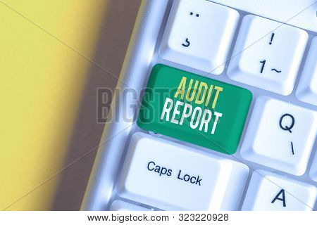 Handwriting text writing Audit Report. Concept meaning An appraisal of complete financial status of a business Assets White pc keyboard with empty note paper above white background key copy space. poster
