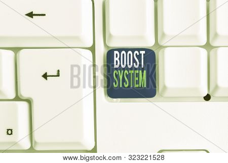 Word writing text Boost System. Business concept for Rejuvenate Upgrade Strengthen Be Healthier Holistic approach White pc keyboard with empty note paper above white background key copy space. poster