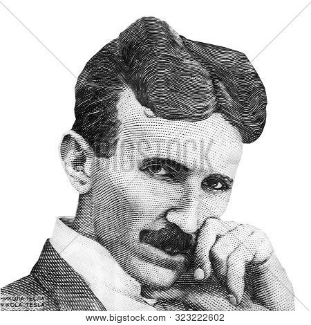 World Famous Inventor Nikola Tesla Black And White Portrait Close Up Isolated On White Background. F