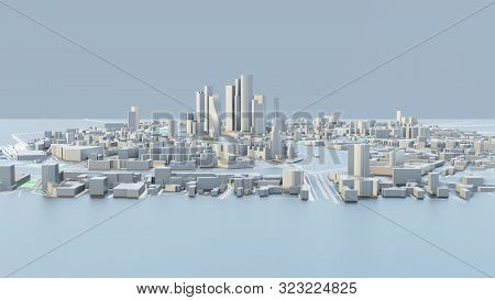 3d Illustration. White Futuristic City In Sunny Day. Sky Background