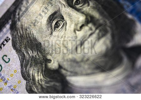 Benjamin Franklin Face On Us Dollar Banknote.us Dollar Is Main And Popular Currency Of Exchange In T
