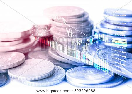 Forex Trading And Stock Market Trading With Candlestick Chart And Coins.financial And Investment Con