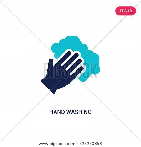 hand washing icon in two color design style.