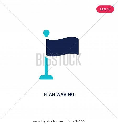 flag waving icon in two color design style.