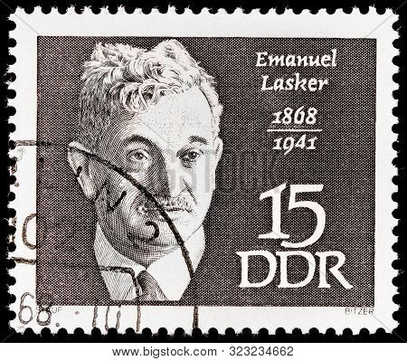 Luga, Russia - September 20, 2019: A Stamp Printed By Germany Shows Emanuel Lasker - A German Chess