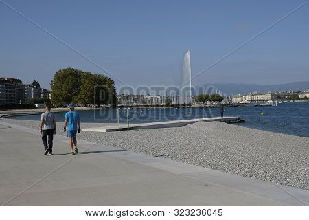 Geneva / Switzerland - July 17 2019 : The New Artificial Beach Of Les Eaux Vives Opened In June 2019