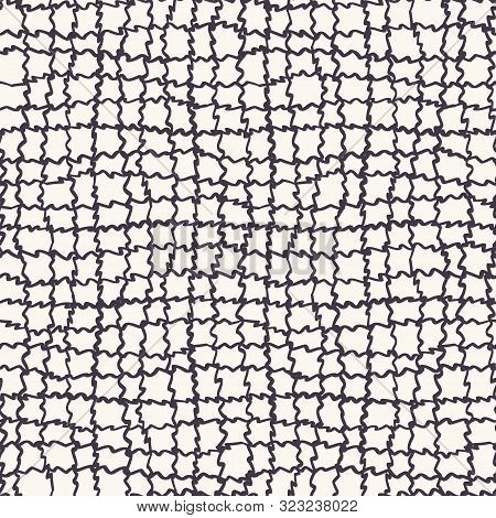 Seamless Pattern Hand Drawn Ornamental Hessian Cloth Texture Background. Irregular Loose Woven Allov