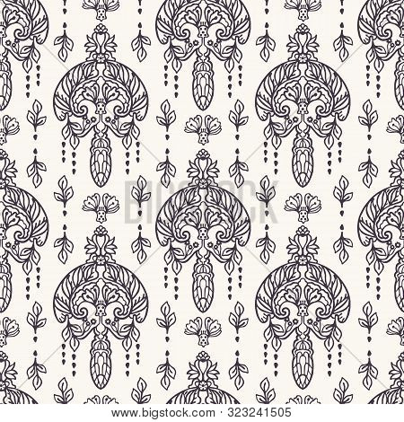 Seamless Pattern Paisley Foulard Motif. Traditional Arabesque Damask Background. Vector Ethnic Vinta