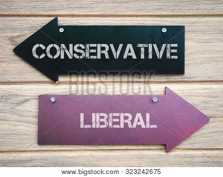 Conservative to the left, liberal to the right