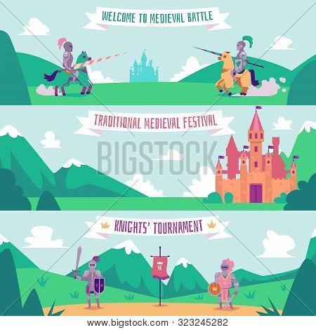 Knight Tournament Banner Set - Medieval Battle Festival Poster