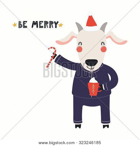 Hand Drawn Christmas Card With Cute Goat In Santa Hat, Pajamas, With Sugar Cane, Mug, Quote Merry Ch