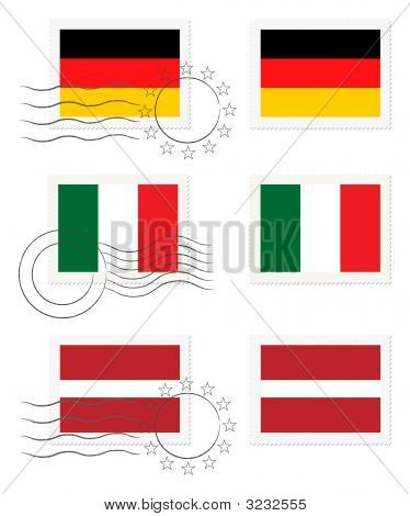 Germany, Italy And Latvia - Flags On A Stamp