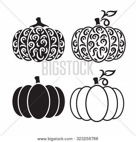 Vector Cut Out Pumpkin Decorative Set. Pumpkin Silhouette Papercraft Template Stencil.