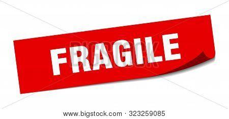 Fragile Sticker. Fragile Square Isolated Sign. Fragile