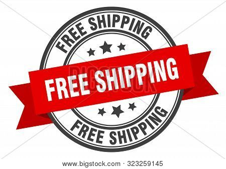 Free Shipping Label. Free Shipping Red Band Sign. Free Shipping