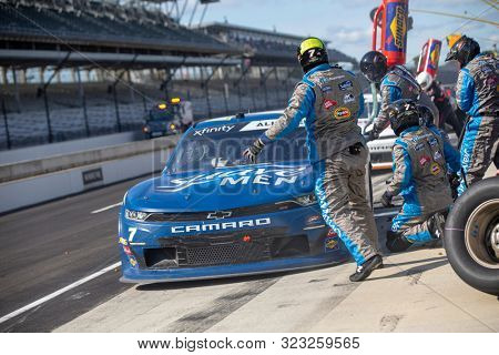 September 07, 2019 - Indianapolis, Indiana, USA: Justin Allgaier (7) and crew make a pit stop for the Indiana 250 at Indianapolis Motor Speedway in Indianapolis, Indiana.