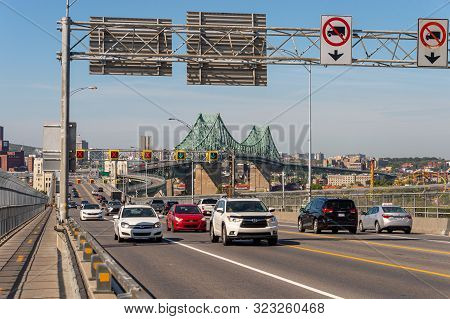 Montreal, Ca - 19 September 2019. Traffic On Jacques Cartier Bridge Crossing Saint Lawrence River.