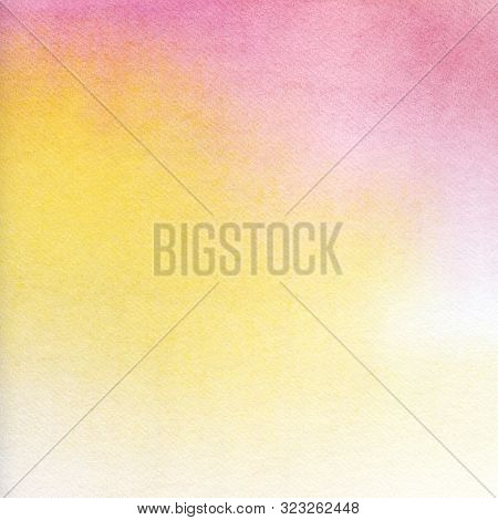 Abstract Watercolor Background. Texture Of Nice Paper Tinted By A Delicate Pink-yellow Gradient. Omb