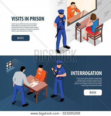 Prison Two Isometric Banners With Visitor And Prisoner In Visiting Room And Detective And Offender I