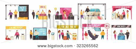 Expo Stand Set With Trade Show Symbols Flat Isolated Vector Illustration