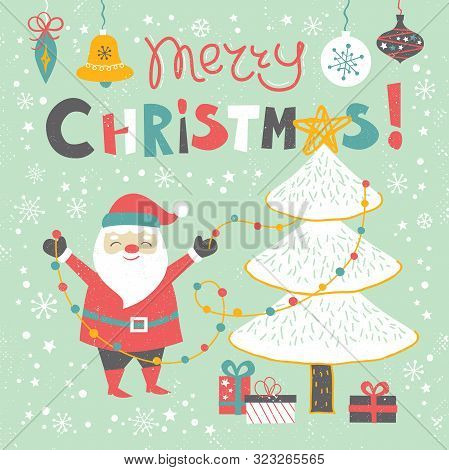 Merry Christmas Card  Templates With Hand Drawn Cute Santa Claus, Holiday Elements And Lettering. Sa