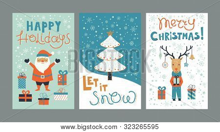 Set Christmas Cards Templates With Hand Drawn Holiday Elements And Lettering. Cartoon Deer, Santa Cl