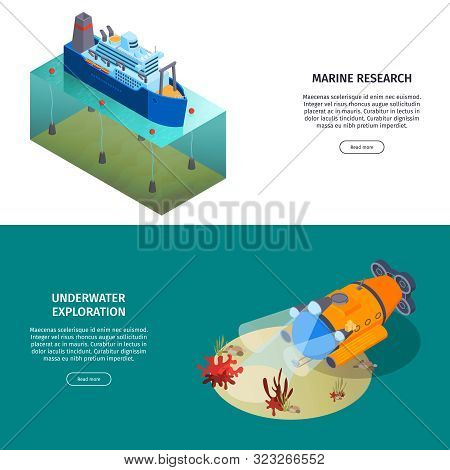 Isometric Water Transport Horizontal Banners Collection With Deep Submergence Vehicle And Research V